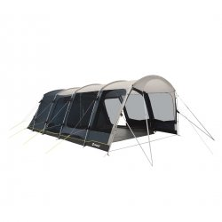 Outwell Colorado 6PE spacious family tent for six people with three doors and high comfort in the sleeping cabin.