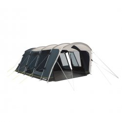 Outwell Montana 6PE spacious family tent for six people with three doors and high comfort in the sleeping cabin.