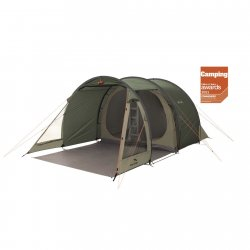 Easy Camp Galaxy 400, a cheap 4-person tent with two dark bedrooms and a bright living room.
