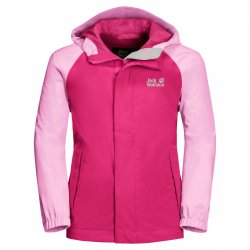 Jack Wolfskin Tucan Pink Peony shell jacket for children. Suitable for play, hiking and camping.