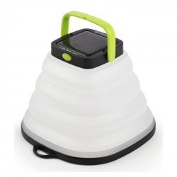 Pack-friendly camping lantern that is charged via USB or the built-in solar panel.