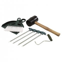 Outwell Tent tool kit with hammer sticks sweep brush / shovel and stick pickup