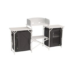 Camping kitchen bench from Outwell with windshield, two relief surfaces, two cabinets and an open shelf for, for example, the ga