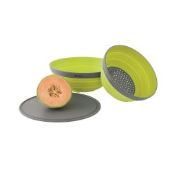 Set of colander, bowl and lid can be used as a cutting board.
