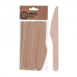 Disposable cutlery in wood - the knife (20 pack)