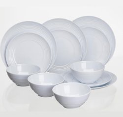 Tableware for camping for four people in Melamin with a silicone ring underneath so as not to slip or rattle.