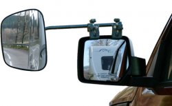 Extra large rear view mirror for caravans. Long arm also fits wider carriages.
