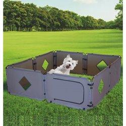 Portable dog paddock for camping and outdoor living.