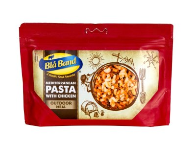 Blue Ribbon lyophilized Mediterranean Pasta with Chicken for hiking and outdoor activities.