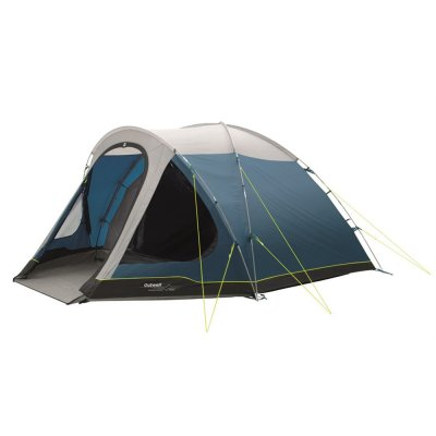 Outwell Cloud 5 is a five-person dome tent with a large porch area and a darkened bedroom.