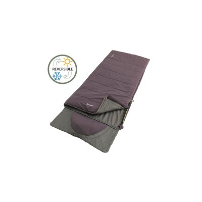 Warm camping sleeping bag with double zippers and integrated pillow.