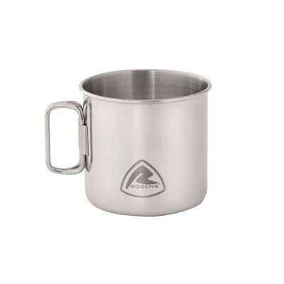 Stainless steel coffee mug with folding handles.