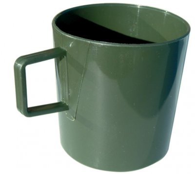 Green mug with handle for camping and outdoor
