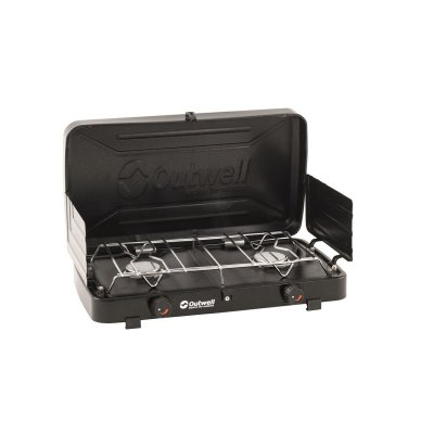 Gas stove with two burners and built-in windshield that is also used as cover we transport and storage. Good for camping and out