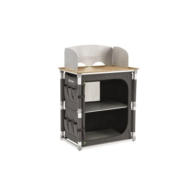 Organize your kitchen with Outwell Padres camping kitchen bench with heavy wooden board and a cabinet with two shelves.